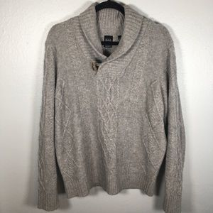 100% cashmere cable knit shawl collar sweater